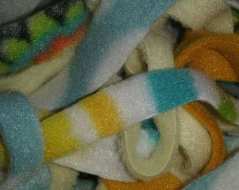 Fleece animal bedding strips/ foraging & nesting material/ snuggle strips for rabbits, mice. guinea pigs, ferret, sugar glider with wash bag