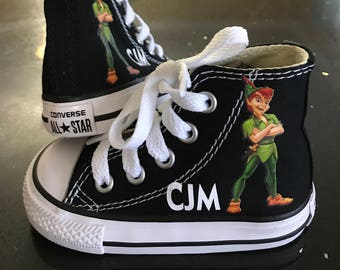 Peter Pan Shoes - Custom Kid Converse Shoes - Custom Personalized High Top Converse Shoes