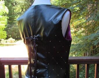 Handmade Black Lace-up Vest