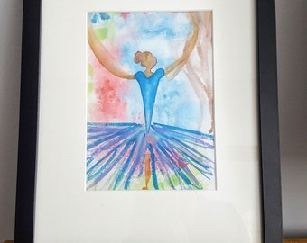 Blue Ballerina, Watercolour, Ballet, Dancer