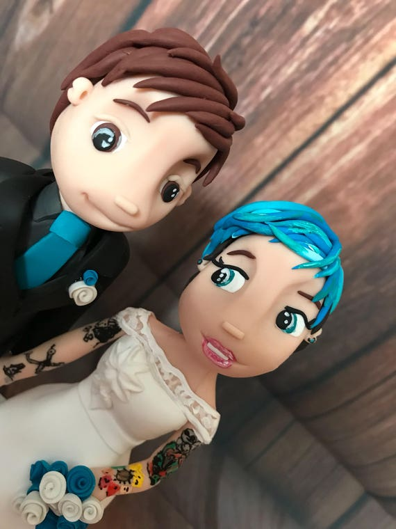 personalised tattoo bride and groom clay Wedding Cake Topper.