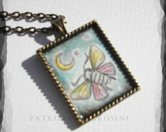 MOTH No.2..original painting necklace.... Handpainted Vintage Style Frame ..victorian..  black..