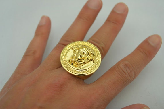 14K Gold Overlay Custom Design Large Medusa Ring Size 711