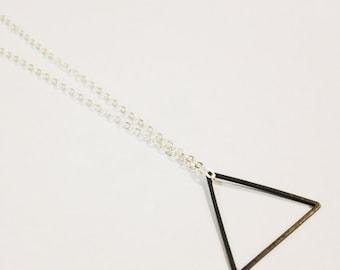 Triangle Necklace, Shape Jewelry, Modern Minimalist, Black Triangle Necklace, Geometric Jewelry, Oxidized Brass Necklace, Geometric Triangle