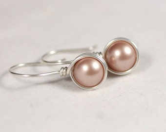 Beige Pearl Earrings Wire Wrapped Jewelry Handmade Sterling Silver Earrings Swarovski Pearl Earrings Pearl Drop Earrings Powder Almond