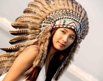 ON SALE Feathers Indian Headdress replica, warbonnet native american inspired, medium length, boho headpiece