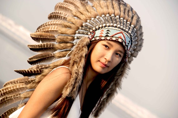 White feather headdress, medium length indian inspired war bonnet. indian style headdress, boho