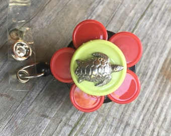 Name badge reel nurse badge recycled medication caps badge holder sea turtle