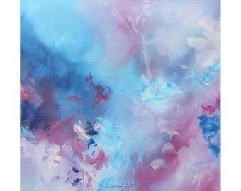 Abstract Modern Expression Art Original Contemporary Painting pink blue grey Musing 161