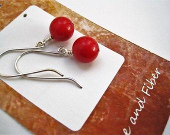 Red Riverstone Ball Earrings / Sterling Silver Wires / Red Stone Drop Earrings / Minimalist Simple Geometric