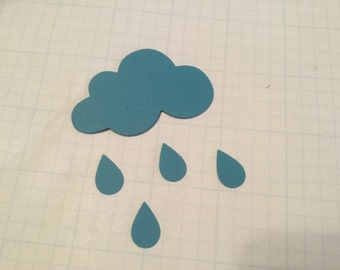 Die Cut Cloud and Raindrops - Set of 36