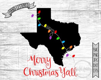 Merry Christmas Y'all Texas Christmas Lights SVG / Merry Christmas Y'all Cut File and Printable / Commercial Use