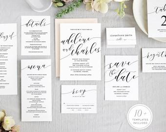 Printable Wedding Invitation Set   Printable Wedding Stationery   Wedding Program   Digital Download for Word   Floral Wreath Invitation
