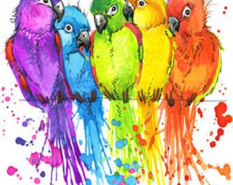 Abstract Parrots Cross Stitch Pattern