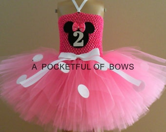 Pink Mouse First Birthday Tutu Dress, Toddler Girl Birthday Outfit, 2nd, 3rd, 4th, 5th
