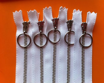 Metal Zippers- Nickel Teeth with Special Ring Pull(5) pieces YKK - White 501- Available in 5,8 and 12 inch