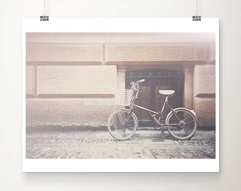 red bicycle photograph Cambridge photograph travel photography red bicycle print street photography red wall decor