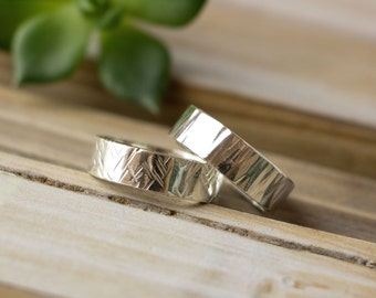 Personalized Silver Wedding Band, Textured Silver Band, Hammered Silver Band, Custom Stamped or Plain, Engraved Wedding Band, Bark texture