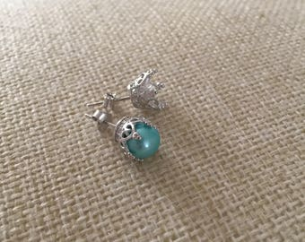 Custom Crown Pearl Stud Earrings