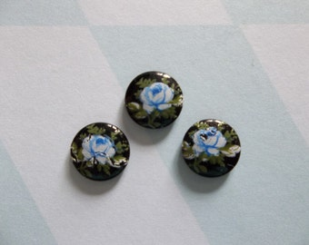 Vintage Cameos - Blue Rose on Black Cameo -  8mm Round Glass Cabochons - Qty 6