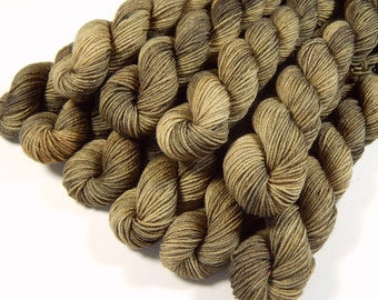 Mini Skeins, Hand Dyed Yarn, Sock Weight 4 Ply Superwash Merino Wool - Driftwood - Neutral Tonal Knitting Yarn, Semi-Solid Sock Yarn