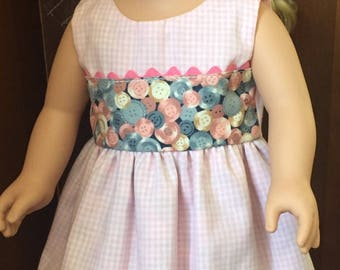 Doll Dress with Gingham Overlay