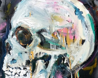 Gothic Skull Painting on Canvas Wall Art by Matt Pecson MADE TO ORDER Skull Decor Pop Art Painting Wall Decor Housewarming Gift