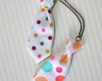 Unisex Mini Tie Rainbow Polka Dot Necklace Pin