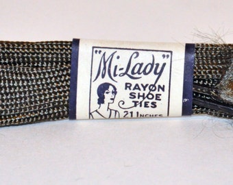 Genuine Vintage 1920s-'30 Rayon Shoe Laces Never Used Old Store Stock -- Free Shipping