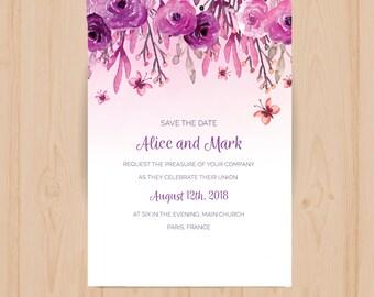 Botannical Save The Date Wedding Invitation
