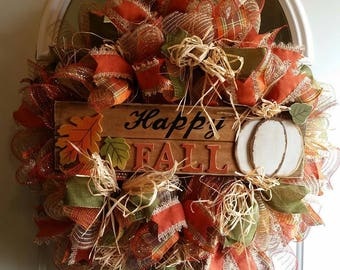 Fall Pumpkin Wreath, Holiday Wreath, Fall Wreath, Happy Fall Wreath, Fall Decor, Fall Pumpkin Decor