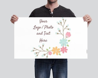 1.7' x 3' Small Horizontal Banner Use Own LOGO or PHOTO Design Custom Personalized