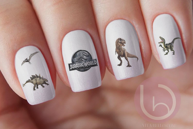 Dinosaur WaterSlide Nail Decal, Nail Design, Nails, Press On Nail ...