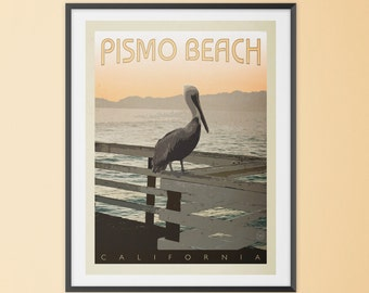 Pismo Beach, California Retro-Style Poster. Typographic, Mid Century Modern, Vintage Style, Travel Poster, Sunset, Wall Art