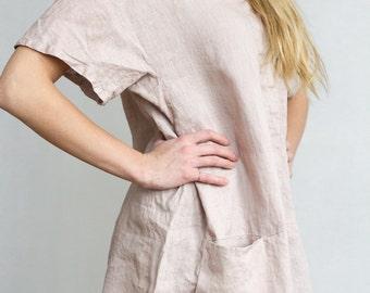 Casual Linen Tunic Top with Drop Shoulder and Pockets