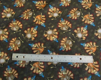 Brown Turkey/Leaf Thanksgiving Henry Glass Cotton Fabric by the Half Yard