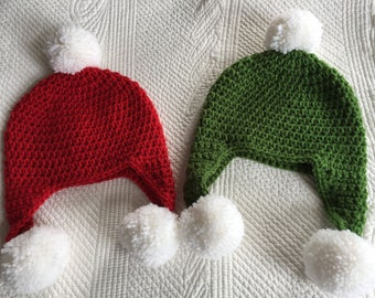 Crochet Hat with Earflaps, Red and White Hat with Earflaps, Christmas Hat, Snow, Baby Hat, Hat with Pom pons, Green and White Hat