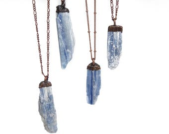 Blue Kyanite-Kyanite Necklace-Electroformed Necklace-Copper Plated-Copper Necklace-Blue Necklace-Gemstone Necklace-Kyanite Stone Necklace