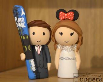 Wedding Cake Topper - Ski Groom & Mouse Ear Bride