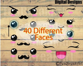 Kawaii Faces SET 2  Chibi faces monogram Digital Clip Art Graphics Personal or Commercial Use digital design for iron on vinyl (021)