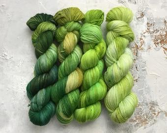 4 Hand Dyed Yarn - Fingering Weight  Yarn - Emerald Coast - fade collection kit - superwash merino 3 ply