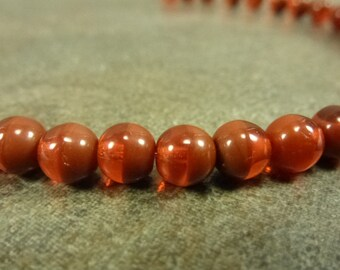 Hyacinth/Burnt Umber Czech Glass Druk Beads 5.5mm 50pc Smooth Round 2-Tone