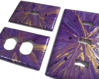 Purple light switch - Purple and Gold Explosion hand painted light switch plates custom size