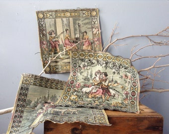 VINTAGE DECOR...a tapestry piece - framed art - rustic - shabby chic