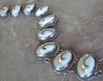 Vintage Silver Tone Mother of Pearl Link Bracelet