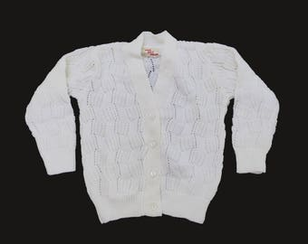 60's White Knitted Cardigan New Old Stock British Made 18-24M