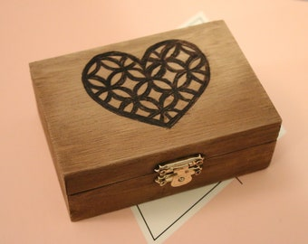 Small Wood Burned Box: Heart Pattern