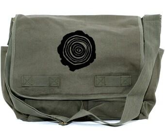 Messenger Bag, Tree Rings, Crossbody Large Canvas, Laptop Messenger Bag, Men Messenger Bag, Women Messenger Bag, Camera Bag School