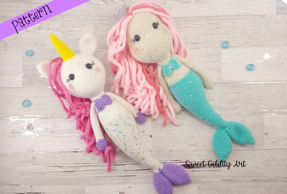 Free Crochet Amigurumi Mermaid Pattern : Mermaid crochet pattern unicorn crochet pattern mermaid
