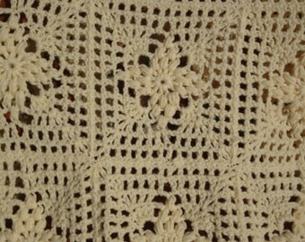 Cream Granny Square Puff Pattern Afghan Ready to Ship